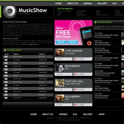 templates for music website free download music show template free website templates in css html