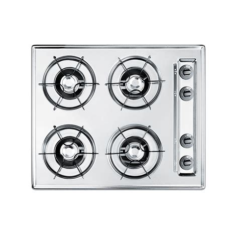 24 In Gas Cooktop - summit appliance 24 in gas cooktop in chrome with 4