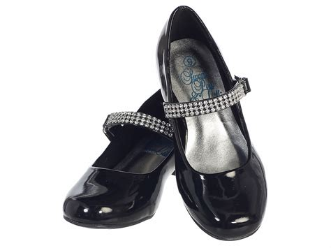 black patent low heel dress shoe with rhinestone
