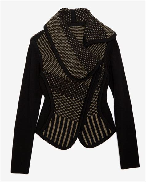 knitting patterns for jackets ohne titel knit sweater jacket in black lyst