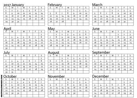 blank yearly calendar 2017 blank 2017 full year calendar
