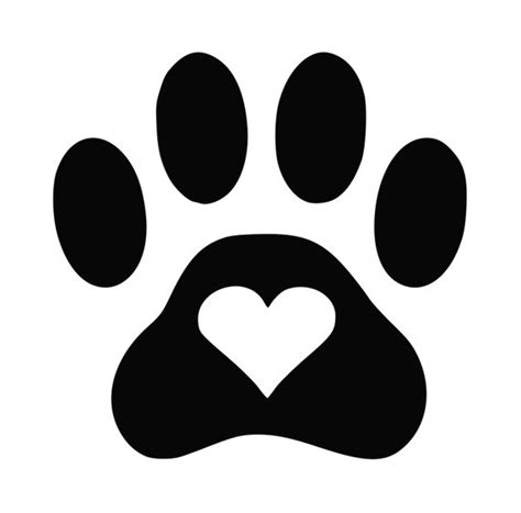 Items Similar To Dog Paw Heart Decal On Etsy Paw Print Silhouette