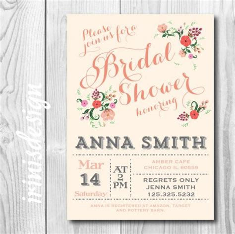 vintage shabby chic bridal shower invitations blossom coral pastel country shabby chic bridal or baby light floral flowers shower rustic