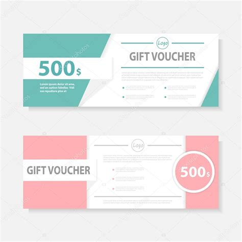 green gift voucher template with colorful pattern cute