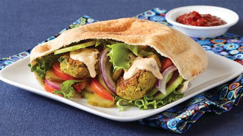 falafel pita sandwiches with tahini sauce recipe clean eating magazine