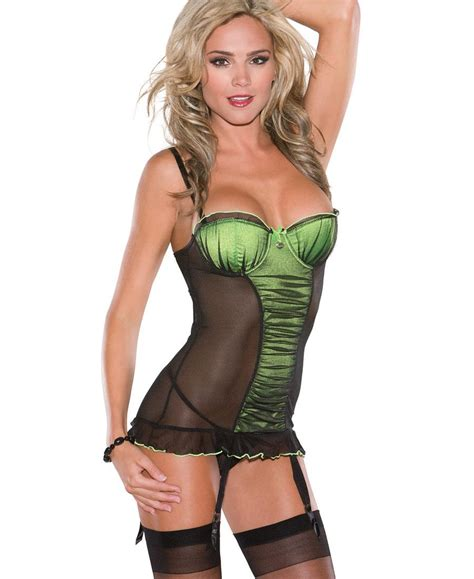 Underwired G String Green Colour underwired mesh lycra gathered chemise with