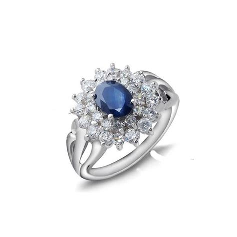 1 carat sapphire gemstone engagement ring on silver