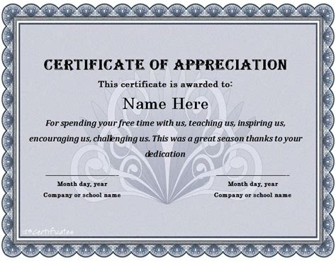 certificate of appreciation templates free certificate of appreciation template beepmunk