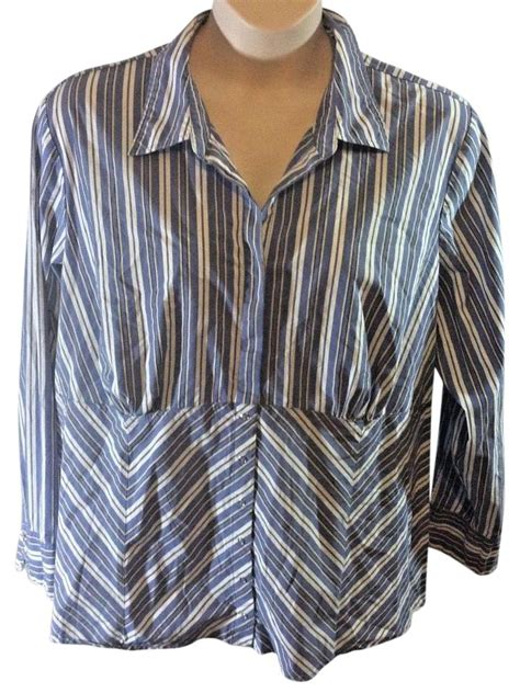Vee Stripes Blouse Blue Sy T1310 3 bryant blue casual shirt stripe plus size modern updated button shirt tradesy