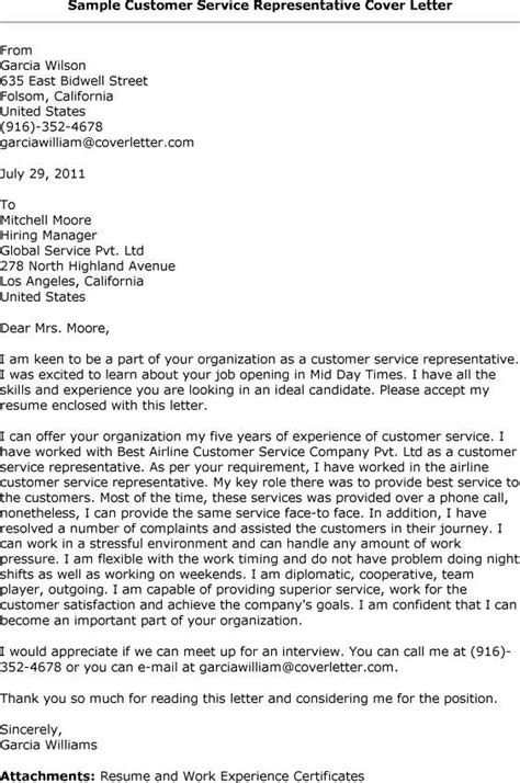 customer service representative cover letter
