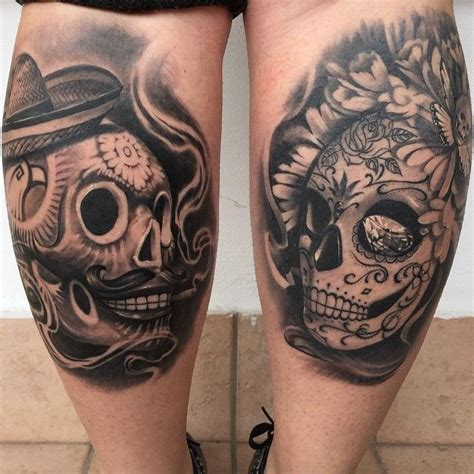 sugar skull couple tattoo finally got a pic of these two sugar skulls i did on my