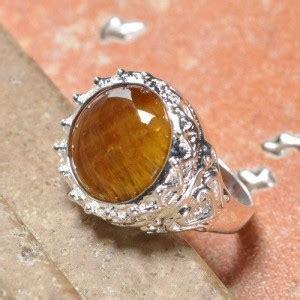 Serba Diskon Gelang Wanita Bahan Perak 925 Lapis Emas Putih Asli cincin lapis perak dengan batu tiger eye ring 9