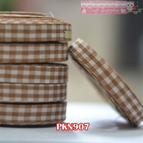 Pita Kotak 1 pkn907 pita kain kotak warna coklat uk 1 2 inch per rol