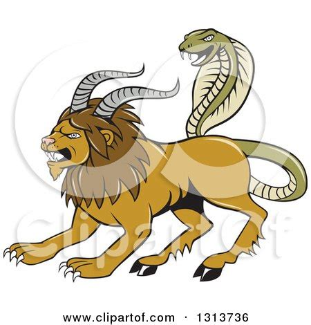 doodle quimera clipart of a chimera with goat horns and