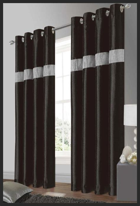 black silver curtains stylish elegant diamante faux silk ringtop eyelet fully