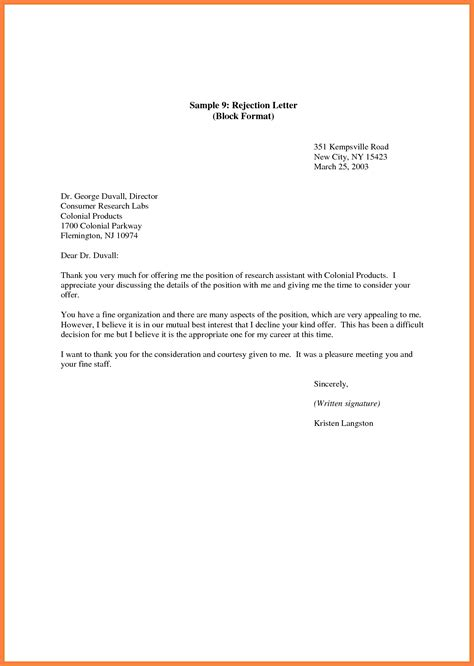 Decline Letter Response rejection letter employment cover letter exle