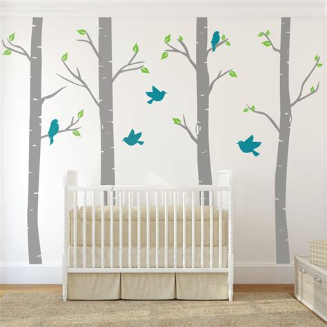 Nursery Birch Tree Wall Decals With Birds Wallboss Wall Nursery Wall Decals Uk