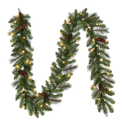 shop living indoor outdoor pre lit 9 ft l pine garland with color changing led lights at