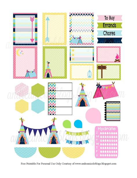 free printable planner art andrea nicole girly glamping planner page decor