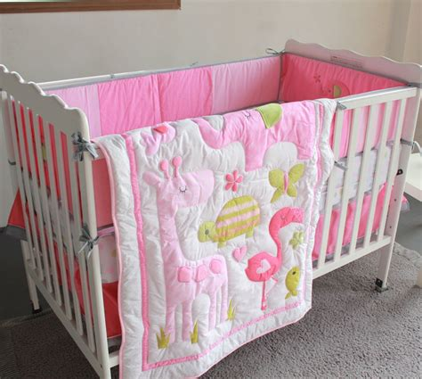 7 pcs flamingos baby bedding set baby cradle crib cot