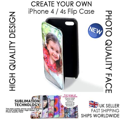 Personalised Iphone 4 Phone Leather Flip Case Cover Custom Photo Create Your Own Ebay Create Your Own Ebay Template