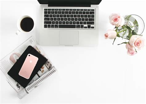 laptop and pink roses flat lay stock image flat lay co