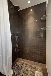 Grey And Tan Shower Curtain 35 Dark Brown Bathroom Floor Tile Ideas And Pictures