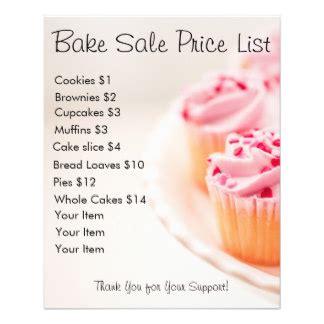 cupcake price list template bake sale flyers programs zazzle