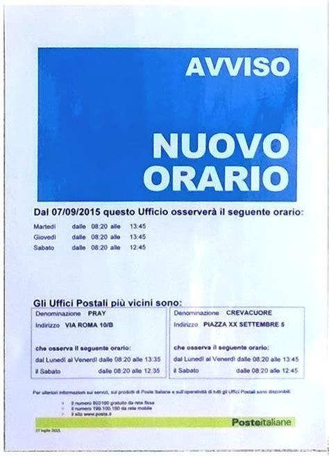 uffici postali orari di apertura ufficio postale variazione giorni apertura al pubblico