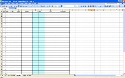 Excel Tables Templates by Blank Table Chart Template