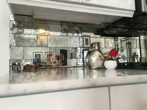 antique mirror backsplash installed