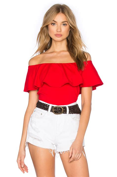 The Shoulder Ruffle Top susana monaco ruffle shoulder top in lyst