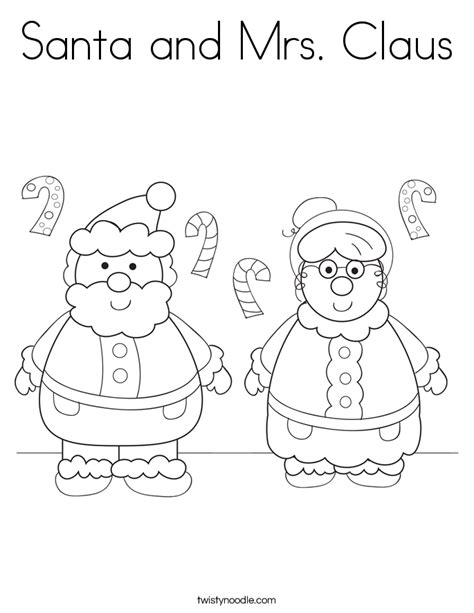 Coloring Pictures Of Santa And Mrs Claus | santa and mrs claus coloring page twisty noodle