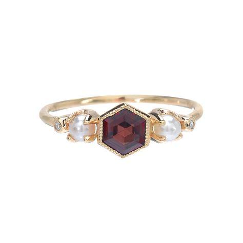 garnet ring gold garnet pearl ring engagement ring