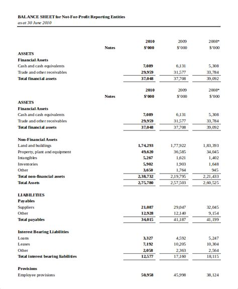 Non Profit Balance Sheet Download