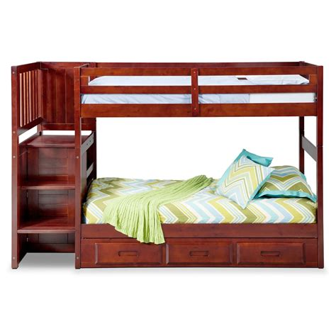 bunk bed with stairs and drawers ranger twin over twin bunk bed with storage stairs