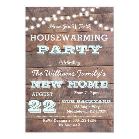 barnwood lights aqua housewarming invitations zazzle