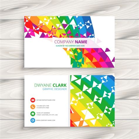 colorful business card templates free abstract colorful business card vector free