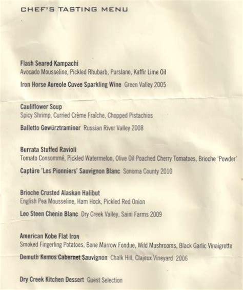 Tasting Kitchen Menu by Sonoma A Wine Odyssey Sipswooshspit