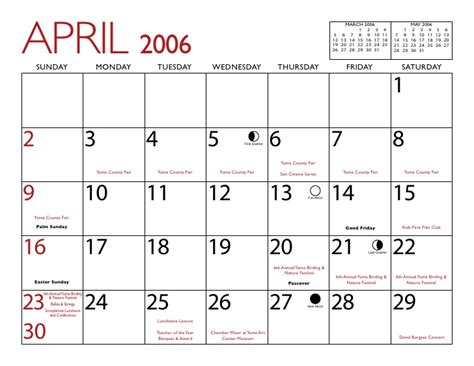 April 2006 Calendar Yuma 2006 Calendar
