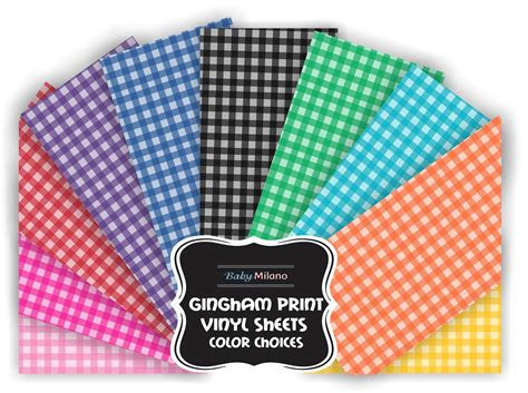 printed iron on vinyl gingham print iron on vinyl sheet select color baby n