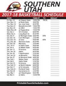 Ut Basketball Schedule Printable Southern Utah Basketball Schedule 2016 17