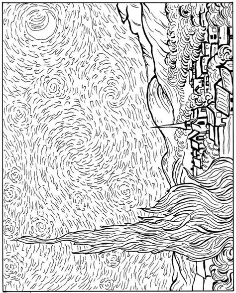 coloring page gogh starry 1000 images about gogh style on