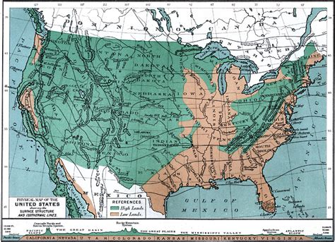 united states map showing state lines the united states showing the surface structure and