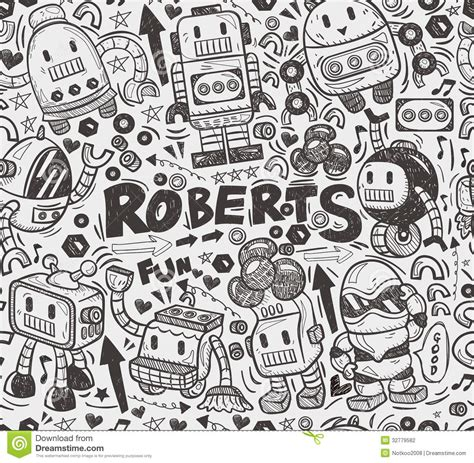 pattern drawing illustrator seamless robot pattern stock vector image of fashioned