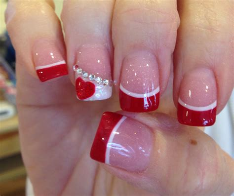 acrylic nails for valentines acrylic with white high light and a touch oh for