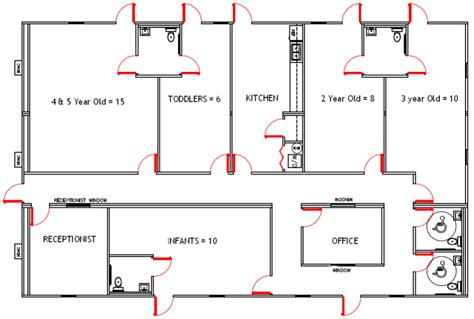 child care center floor plans i like the layout and shape but i would switch some of the