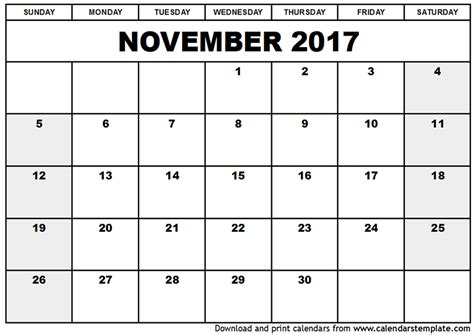 printable monthly calendar november november 2017 calendar template printable calendar templates