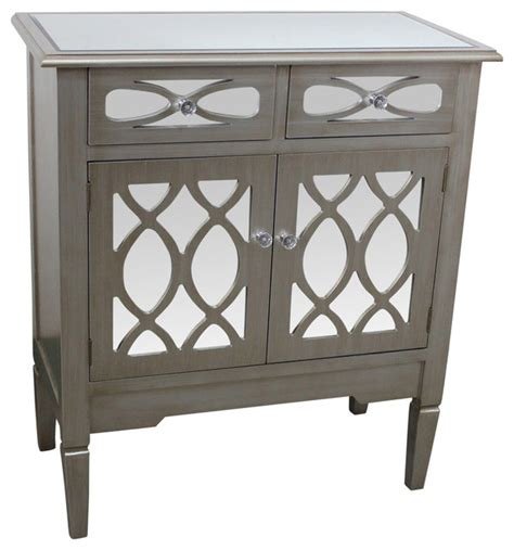 mirrored accent cabinet antique silver entrance inspire at home 2 door and 2 drawer mirrored cabinet