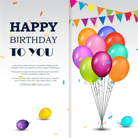 happy birthday greetings card 123freevectors